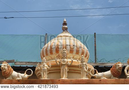 The Ornate Hindu Gods Atop An Entrance To A Hindu Temple In The Georgetown Area Of Penang Malaysia.