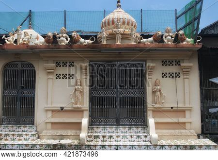 The Entrance To A Hindu Temple In The Georgetown Section Of Penang Malaysia On A Sunny Day.