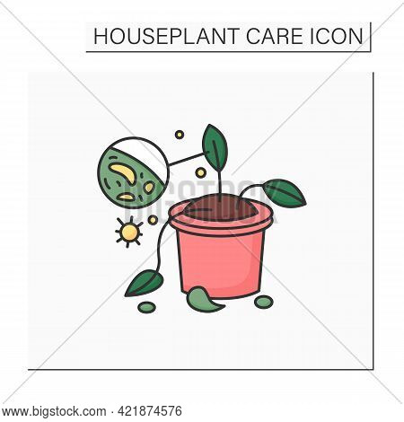 Gardening Color Icon. Plants Diseases. Remove And Destroy Diseased Houseplants.home Gardening. House