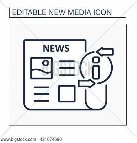 Newspaper Line Icon. Periodical Publication. Articles On Paper. Information Space. Important News. N
