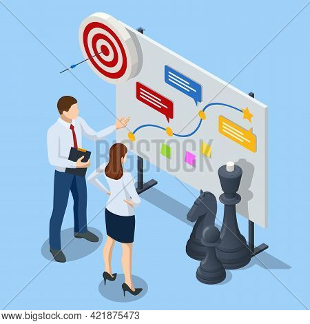 Isometric Concept Business Strategy, Plan Strategy For Success. Achieving Goals Business Strategy Fo