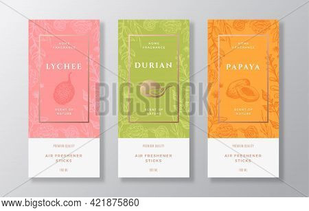 Home Fragrance Vector Label Templates Set. Hand Drawn Sketch Lychee, Durian, Papaya And Flowers Back