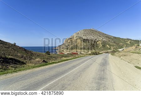 Road In Arid Areas. Kapsel Area, Crimea, Sunny Morning At The End Of April.