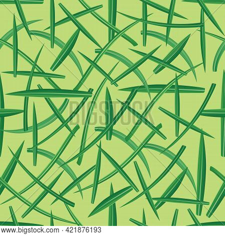 Vector Seamless Pattern With Crocus Green Leaves