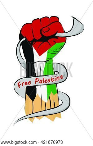 Vector Sketch Punching Or Fisting Hand, Palestine Flag And Arabic Text That Meaning Palestine.