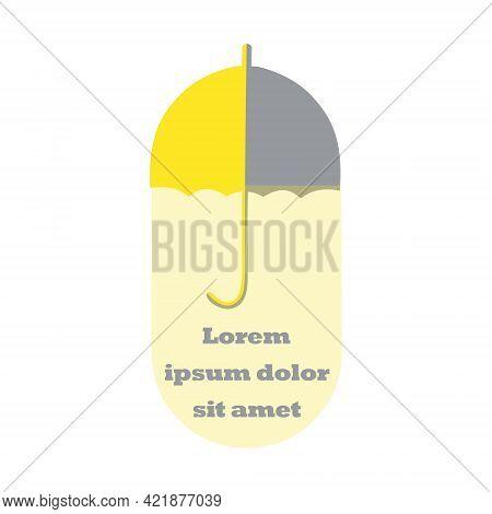 Logo With Retro Umbrella In A Capsule Form. Half Yellow And Grey Umbrella. Semi Transparent Shape Be
