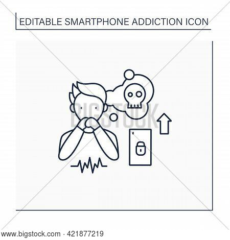 Smartphone Addiction Line Icon. Increasing Stress. Anxiety Rising. Depression. Stressful Situation.