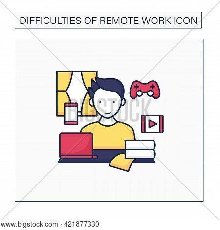 Remote Work Color Icon. Distractions At Home.control Entertainment While Working. Career Difficultie