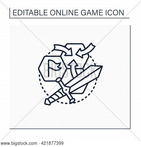 Strategy Game Line Icon. Sequential Actions To Achieve Goals. Storylines. Different Characters.onlin