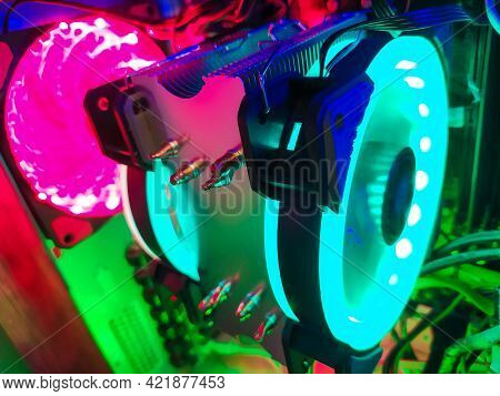 Modern Computer Air Cooling With Multi-colored Led Backlight-fans, Cooling Radiators, Cables, Boards