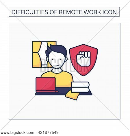 Remote Work Color Icon. Staying Motivated. High Productivity. Career Difficulties Concept. Isolated