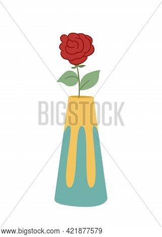 One Lush Rose In A Wavy Ceramic Vase Colored Isolated Illustration In Doodle Style On White Backgrou