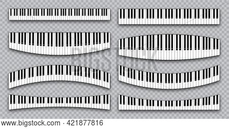 Realistic Piano Keys Collection. Musical Instrument Keyboard On Checkered Background. Vector Illustr