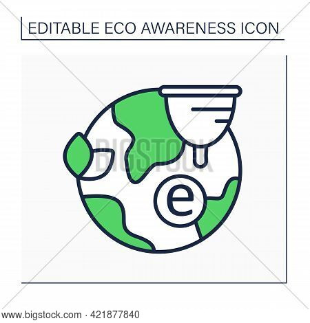 Menstrual Cup Line Icon. Reusable Hygiene Product. Eco Friendly. Eco Awareness Concept. Isolated Vec