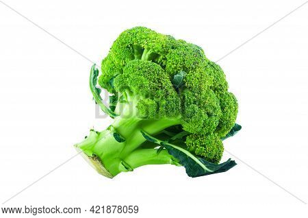 Large Raw Fresh Head Of Broccoli Cabbage On White Background, Healthy Vegetarian Food, Isolated, Clo