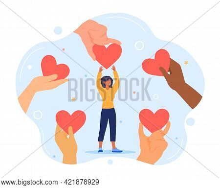 Charity And Donation. Give And Share Your Love To People. Several Mixed Race People Hold Big Heart S