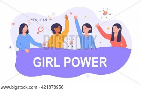 Feminist Movement With Phrase Girl Power For Prints, T Shirts, Cards. International Women Day, Femal