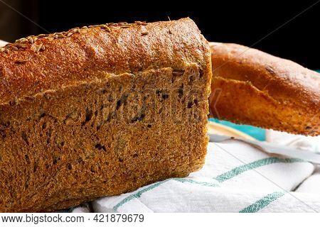 A Loaf Of Rye Bread. Rustic Style Bread. Homebaked Bread. Rye Flour Bread.