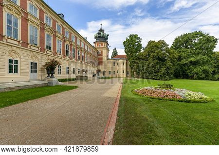 Lancut, Poland - August 26, 2020: Facade Of 16th Century Baroque Lancut Castle, Former Polish Magnat