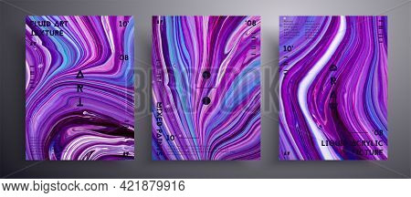 Abstract Acrylic Banner, Fluid Art Vector Texture Collection. Trendy Background That Applicable For