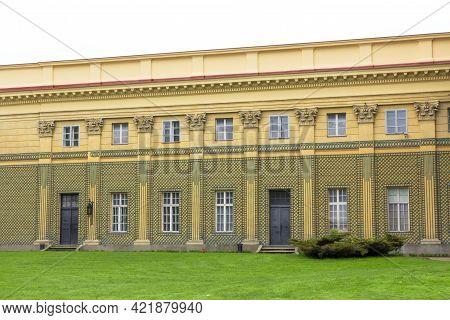 Lancut, Poland - May 5, 2013: Front View Of Orangery, Next To 16th Century Baroque Lancut Castle, Fo