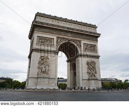 The Arc de Triomphe de l'Étoile in Paris, France