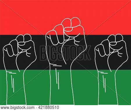 June 19 Celebration. Juneteenth Concept. Raised Fists. Red, Black And Green Flag. Freedom Day. Banne