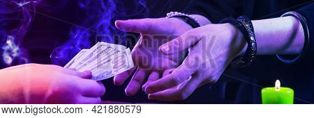 A Fortune Teller Or Oracle Takes Money For Their Work. Psychic Readings And The Concept Of Clairvoya