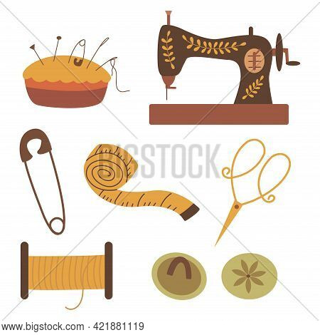 Set Of Elements For Needlework And Sewing. Thread, Scissors And Button, Centimeter And Sewing Machin