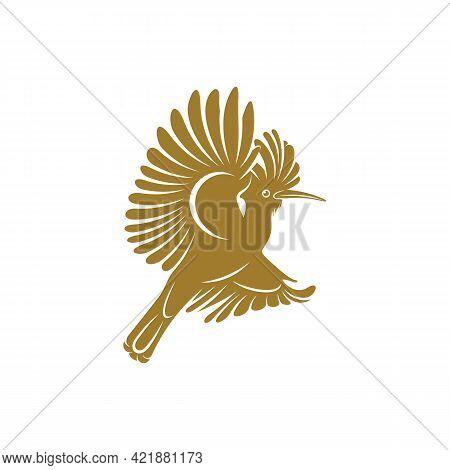 Eurasian Hoopoe Bird Vector Illustration. Eurasian Hoopoe Bird Logo Design Concept Template. Creativ