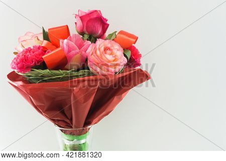 Mother's Day Bouquet Background. Bunch Of Flowers Isolated. Pink Rose Background. Woman's Day Bouque
