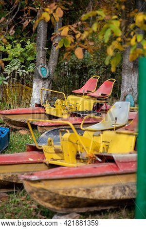 Dump Of Old Catamarans In The Park.