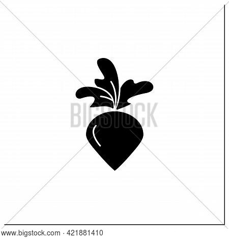 Radish Glyph Icon. Root Vegetable. Edible Plant. Vegetarian, Healthy Nutrition. Health Benefits. Agr