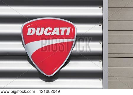 Dardilly, France - September 6, 2020: Ducati Logo On A Wall. Ducati Is An Italian Company That Desig