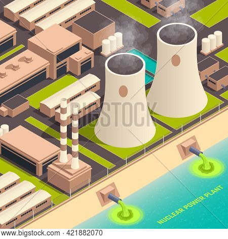 Toxic Waste Nuclear Chemical Pollution Biohazard Composition With Nuclear Power Plant Buildings Vect