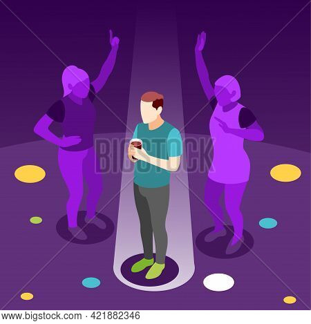 Loneliness Isometric Colored Background With Teenager Dreaming Of Dancing With Girl At Night Party V