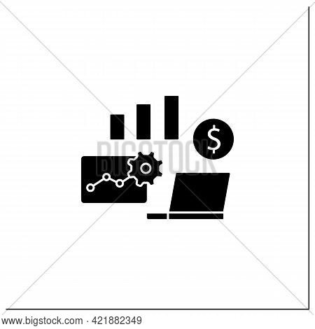 Business Metrics Glyph Icon. Saving Real Information In Databases. Shows Company Goals. Business Aut