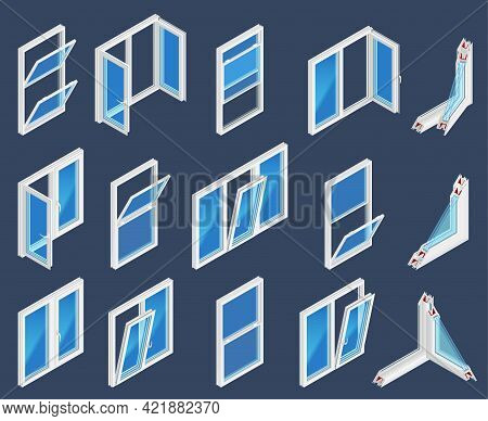 Plastic Windows Type Construction Color Set On Dark Background Including Single Hung Vertical Slidin