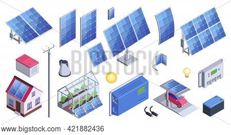 Solar Energy Equipment Set Of Solar Panels Ecologically Clean Battery Controller Electric Car Fillin