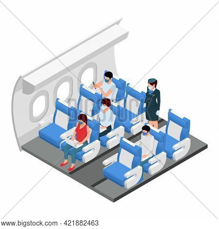 Airplane Travel Class Section Interior Isometric View With Passengers In Their Seats Standing Flight