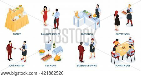 Banket Reception Buffet Service Food Stations Appetizers Grilled Meat Salads Wine Waiters Attendees