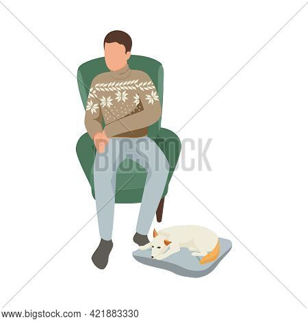 Hygge Lifestyle Flat Icon With Man In Warm Sweater On Armchair And His Sleeping Dog Vector Illustrat