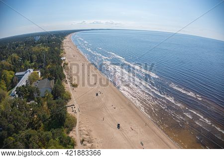 Estonia, Narva Jõesuu,\\rmay 26, 2021 Coast Of The Gulf Of Finland, Sandy Coast\\r  Summer Day, Dron