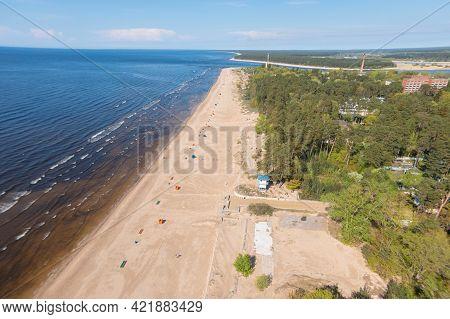 Estonia, Narva Jõesuu, May 26, 2021 Coast Of The Gulf Of Finland, Sandy Coast   Summer Day, Drone Vi