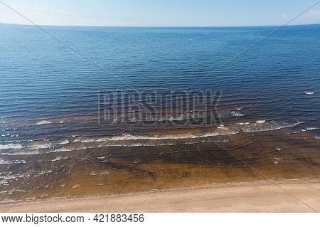 Estonia, Narva Jõesuu,\rgulf Coast, Sandy Coast\r  Summer Day, Drone View Of The Resort Town At The