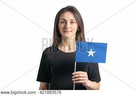Happy Young White Girl Holding Somalia Flag Isolated On A White Background.