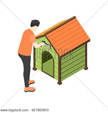 Isometric Icon With Man Decorating Dog Booth On White Background 3d Vector Illustration