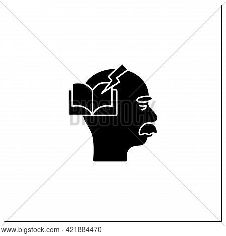Reading Problems Glyph Icon.difficulties With Spelling Sounds, Concentration. Alzheimer Disease. Neu