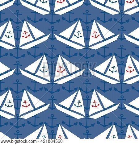 Stencil Style Vector White Sailing Boats Seamless Pattern On Navy Blue Background With Subtle Anchor