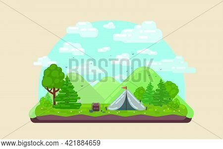 Landscape With Forest Campsite Against Mountains In Background. Flat Vector Illustration.